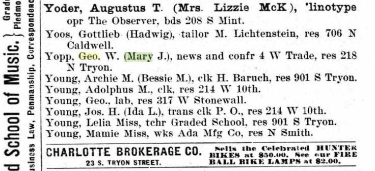 George Yopp, 1897 city directory