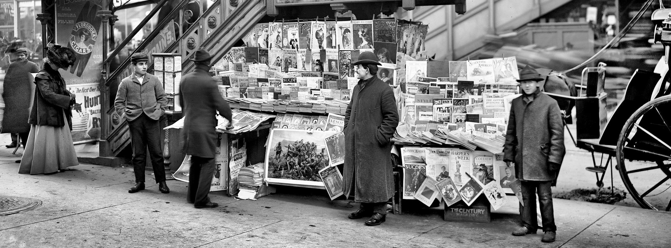 Newsstand near El Station NYC ca 1903